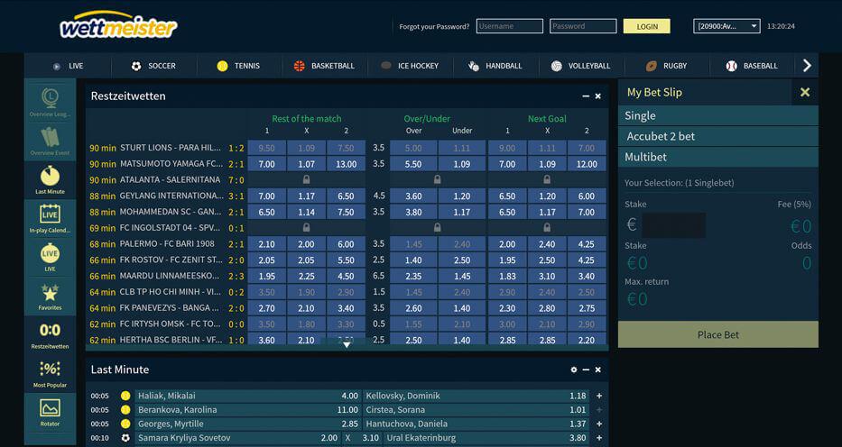 Sportwetten-Übersicht auf der Webseite des Wettanbieters wettmeister (Quelle: wettmeister)
