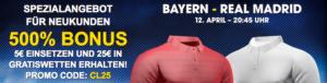 William-Hill-Spezialangebot: 500 Prozent Bonus beim Spiel Bayern – Real (12.04.2017)