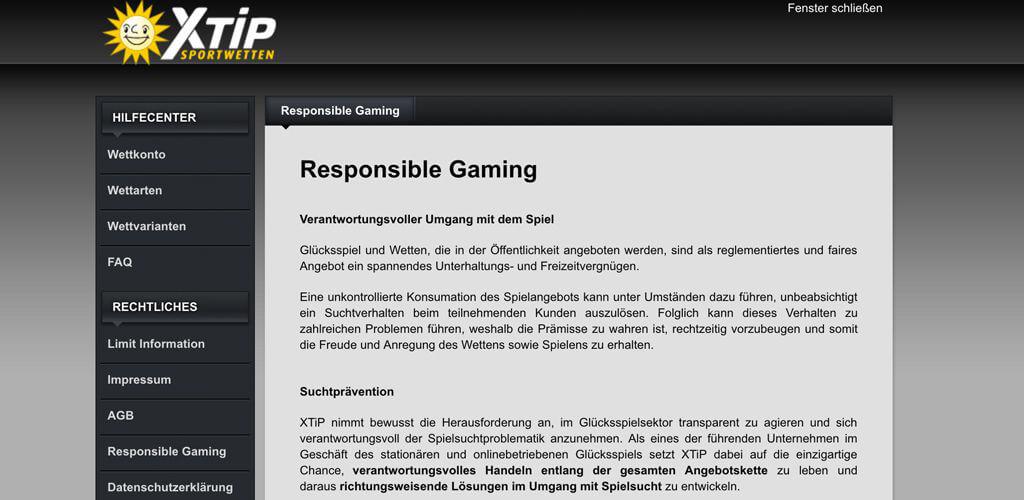 """In den AGB von XTiP findest Du alle wichtigen Informationen zum """"Verantwortungsvollen Spielen"""" (Quelle: XTiP)"""
